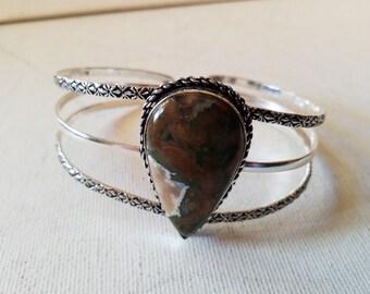 Handmade rainforest ryholite stone, 925 silver overlay cuff bracelet