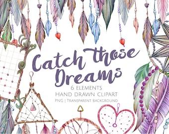 Dreamcatcher Clipart, Boho Dreamcatchers,  Large Dreamcatcher, Boho Clipart, Rustic Boho Clipart, Tribal Clipart, PNG Clipart, Crafters
