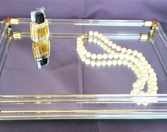Mid Century Footed Mirrored Tray for Boudier or Buffet Jewlery Dish