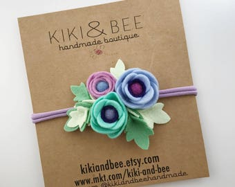 Mermaid // Petite Poppy Headband // Felt flower crown headband // kikiandbee