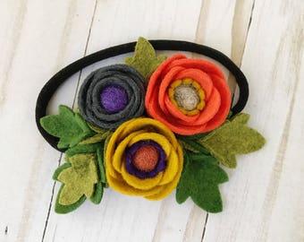 Fall Autumn // Petite Poppy Headband // Felt flower crown headband // Charcoal Gray, Orange and Mustard Yellow // kikiandbee