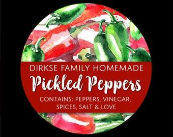Customized Label for Pickled Peppers - Watercolor Style Canning Jar Label - Wide Mouth & Regular Mouth - Watercolor Peppers Label