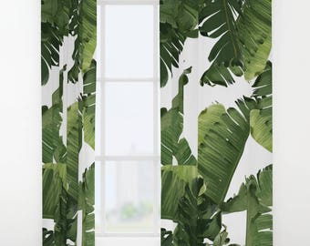 Green Window Curtains, Banana Leaf Curtain Panels, Tropical Leaf Pattern, Maximalist Decor, Green White Bedroom, Summer Vibes, Coastal Decor