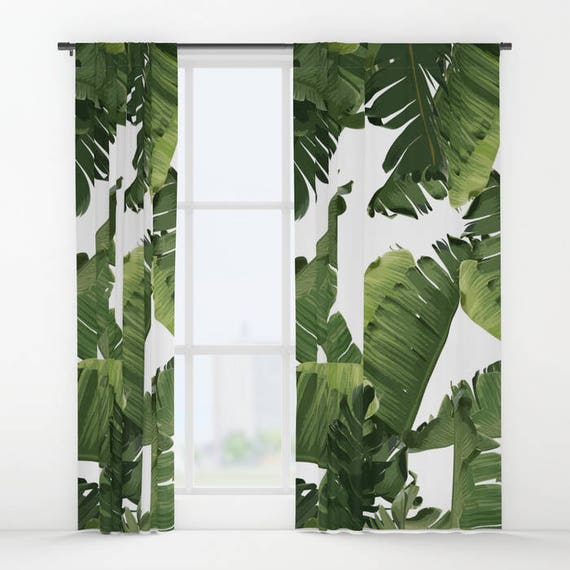Green Window Curtains Banana Leaf Curtain Panels Tropical