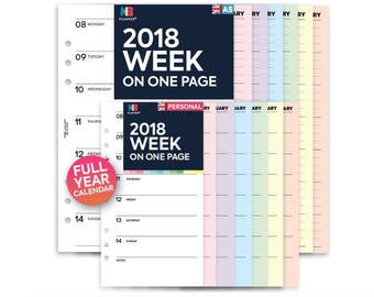 PRINTED 2018 Week on one page Insert A5 / Personal Filofax A5 Kikki.K Large Compatible Refill Coloured WO1P