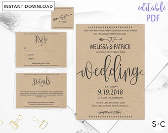 rustic wedding invitation template barn wedding invitations cheap wedding invitations diy wedding template