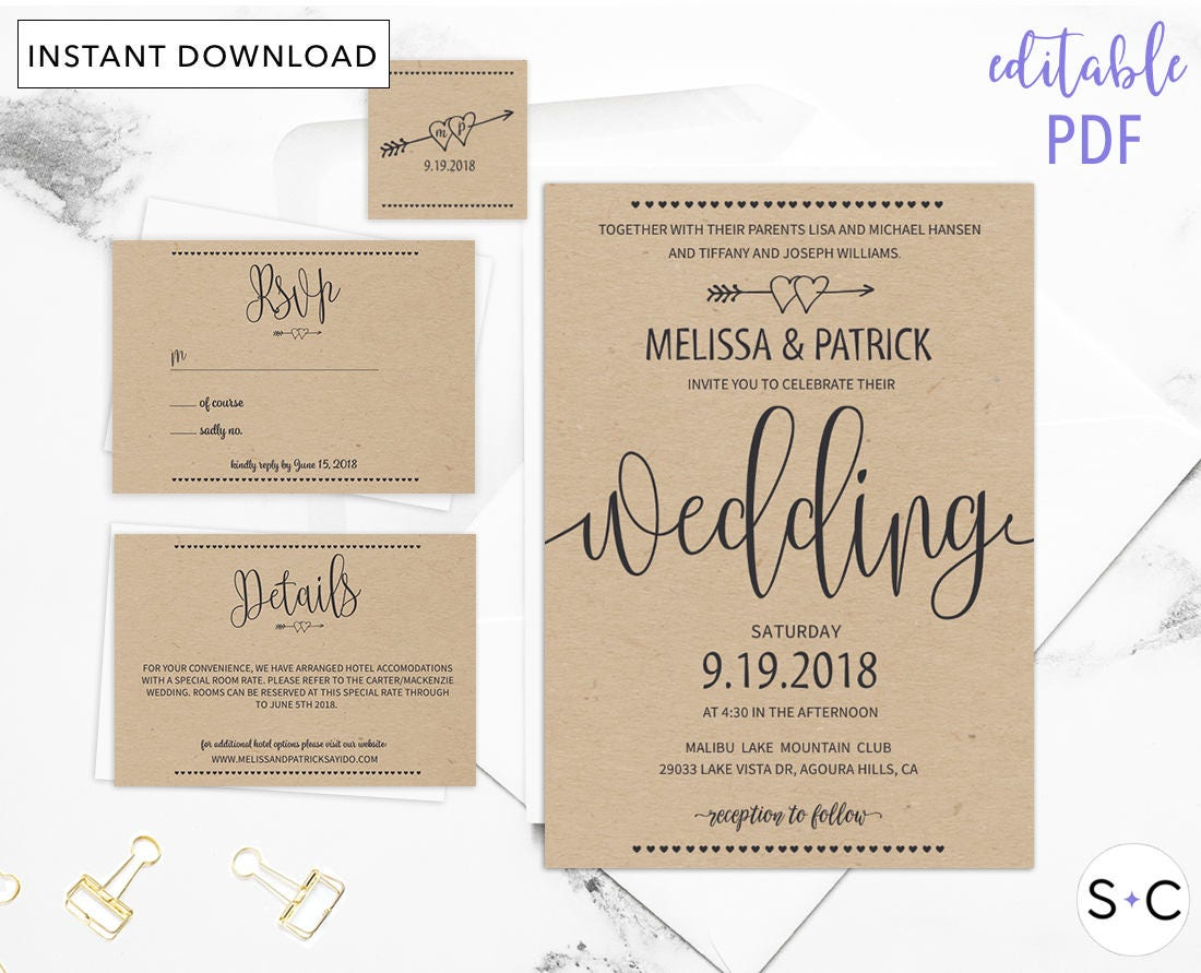 rustic wedding invitation template barn wedding invitations. Black Bedroom Furniture Sets. Home Design Ideas