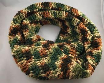 Camo Infinity Scarf Handmade Crocheted
