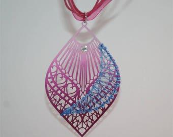 """Fancy pendant multicolor with bobbin lace """"ANNA""""."""