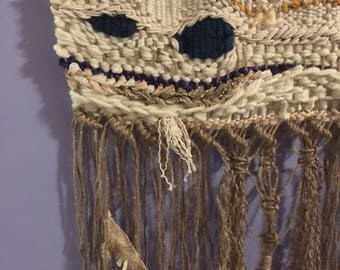 Jute and yarn boho woven wall hanging