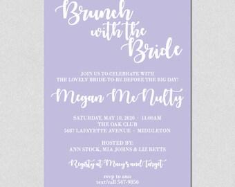 Brunch with the Bride, Bridal Shower Invitation, Bridal Brunch Invitation, Lavender, Wedding Shower Invitation, Bridal Shower Voilet