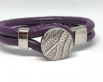 Bracelet double purple leatherette with interchangeable button