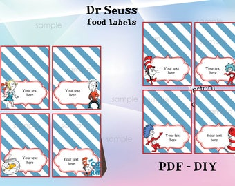 INSTANT DOWNLOAD- Personalized Dr Suess food Labels, Food Labels, Buffet Labels, Tent Cards, Place Cards, Dr Suess party-Pdf - DIY