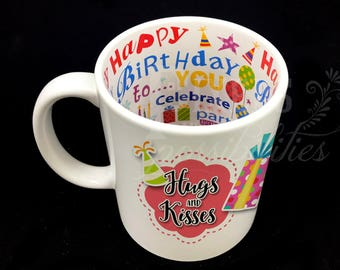 Birthday Ceramic Mug Personalized 11 oz. (Hugs and Kisses and Birthday Wishes)