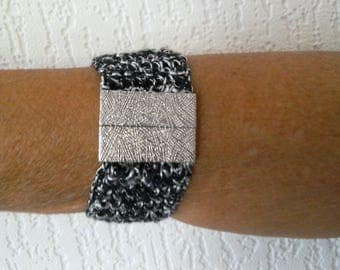 Black/Silver, elegant Cuff Bracelet, crocheted cotton and lurex