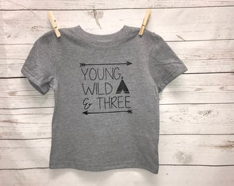 Three Shirt, Birthday Boy Shirt, Teepee Shirt, Wild and Three Shirt, birthday boy, tops, boy clothing, toddler boy shirt, birthday shirt,