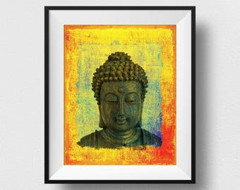 Buddha Head Wall Art, Buddha Head Painting, Buddha Statue Print, Siddhartha Art, Yoga Decor, Spiritual India Print, Buddha Home Decor (N519)