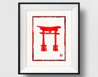 Shinto Torii Print, Torii Gate Art, Japanese Stamp Art, Shinto Shrine Wall Decor, Japanese Traditional Stamp Decor, Kanji Luck (N520)