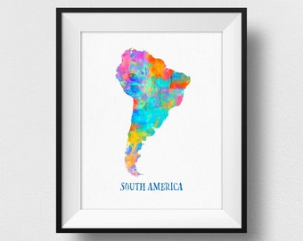 South America Map Wall Art, South America Map Print, Map Of South America Poster, Watercolour South America Continent Map, Home Decor (721)