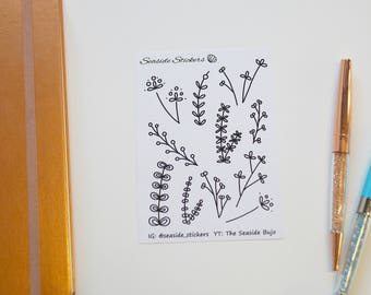 floral doodles || bullet journal stickers