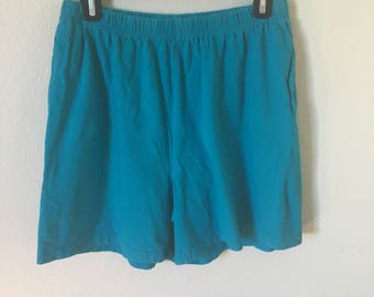 90's casual cotton blue shorts/teal blue large cotton shorts