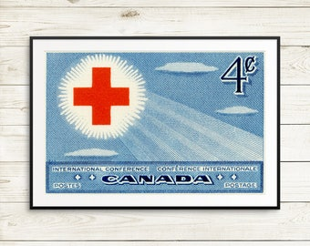 P099 Red Cross, large blue poster, Canada history, canadian history, postage stamp art, gifts for doctors, nurse gifts, waiting room decor