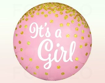 IT'S A GIRL Confetti Balloon | Pink and White Balloon Pack | Glitter Confetti Graphic Balloon | Gold Confetti Balloon Decoration