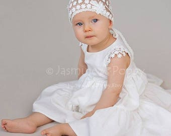 Baby christening dress, baby flower girl dress, Silk christening dress, baptism dress, ivory baby silk dress, baby party dress