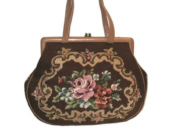 Vintage 1950s Leather & Floral Needlepoint Framed Satchel Bag