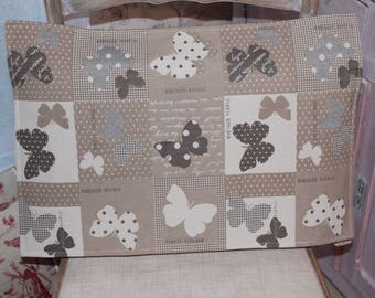 MOTHS Cushion cover 38 x 56 grey canvas and beige woven