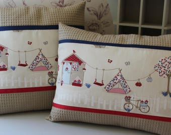"""Child rectangle pillow cover """"my cabin in the garden"""" 34 x 44 rye honeycomb / ecru red and blue"""