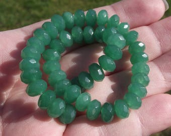 Emerald 8 mm X 5 MM faceted Rondelle beads 4. *.