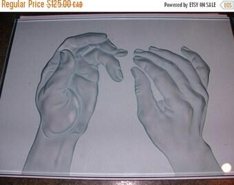 ON SALE Vintage Crystal Hands Sculpture