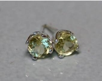 Natural Lemon Quartz Silver Earrings - Sunny Yellow Argentium Silver 5mm Genuine Gemstone Studs