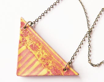 "Packed fantasy style necklace ""Lace in pink and gold"" ceramic triangle craft lace, unique piece"
