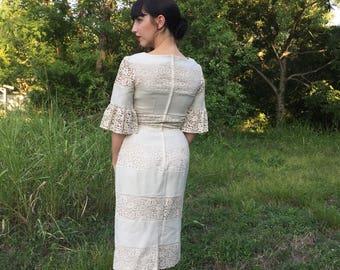 1950's Custom Made Cream Wiggle Dress