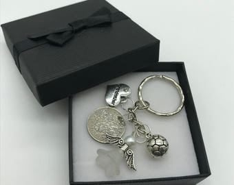 60th birthday gift lucky sixpence keyring charm 1958 gift for him