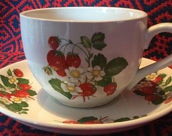 Portmeirion Strawberry Jumbo Teacup and Saucer