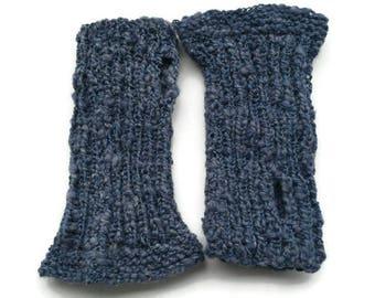 Blue wrist warmers, blue arm warmers, wool wrist warmers, hand-knitted wrist warmers, hand-dyed wrist warmers, hand dyed arm warmers