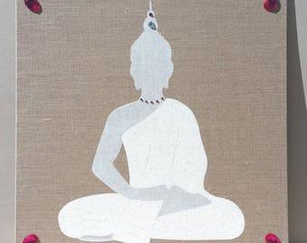 White Buddha beads fuchsia table