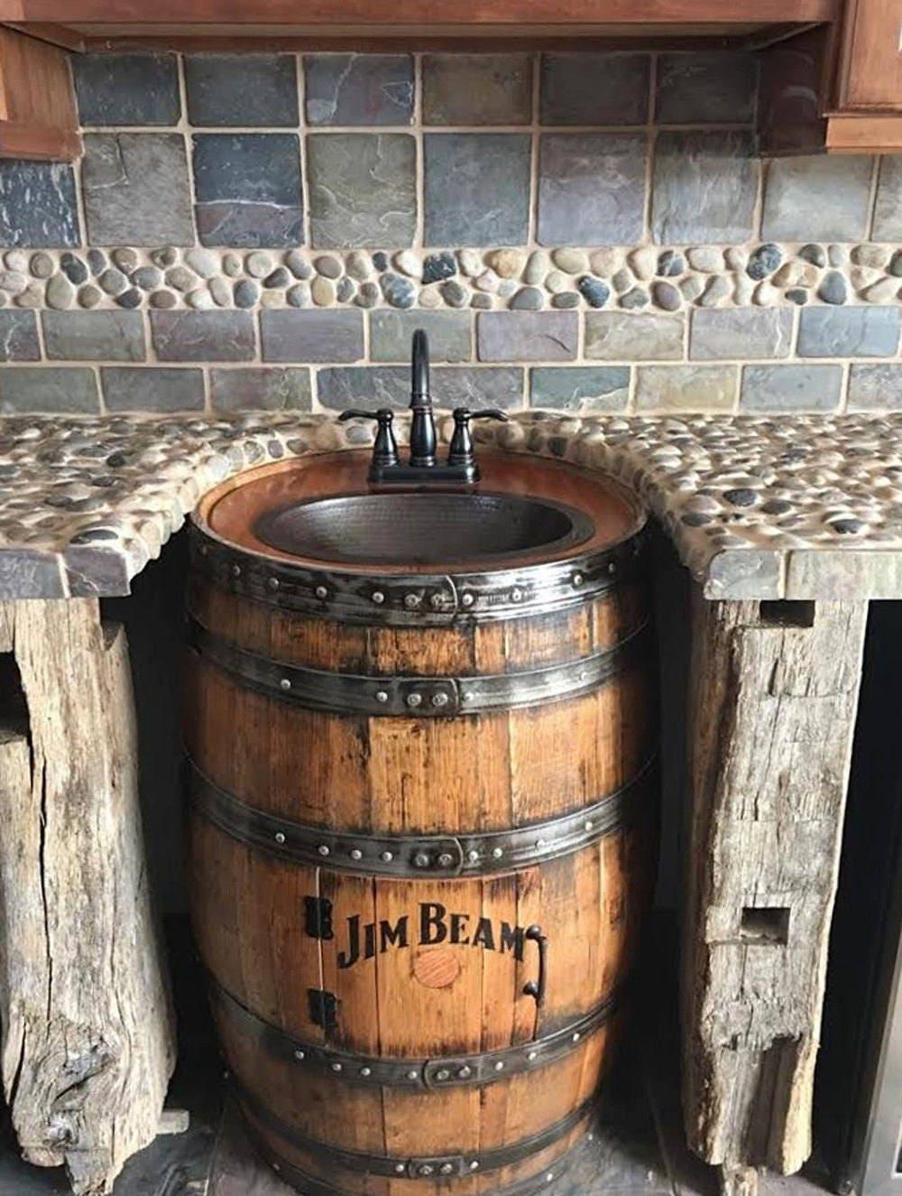 Whiskey Barrel Sink Hammered Copper Rustic Antique