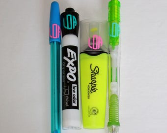 Monograms for Pens, Pencils, Highlighters, etc. - Circle Font