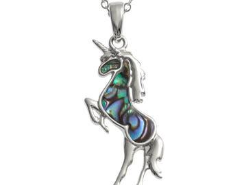 Unicorn pendant, paua shell unicorn pendant, unicorn necklace, unicorn gift, inspirational gift, fantasy jewellery, unicorn jewellery.