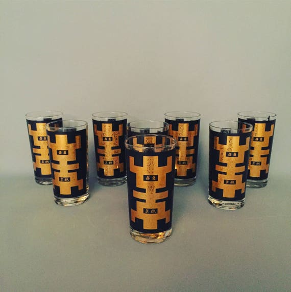 Set Of 8 High ball Y. Reeves signed drinking glasses