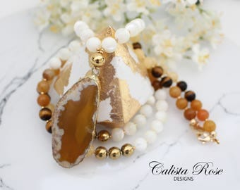 Mustard Yellow Agate necklace Earthy Necklace Long Beaded necklace Mustard Gemstone Necklace Boho mala necklace Rustic Necklace -Desert Sand