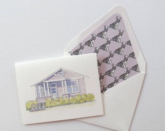 New Orleans House with Schnauzers - Painted Watercolor
