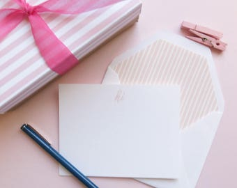 Pink and White Personal Stationery - Thank You or Monogram Stationery - Thank You Note Cards - Pink and White Marker Stripe