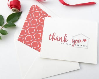 Real Estate Agent Thank You Cards - Real Estate Referral Card- Realtor Thank You for Your Referral - Red and White
