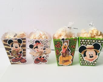 Mickey Mouse Minnie Mouse Pluto Safari | Popcorn Boxes, Treat Boxes, Favor Boxes, Goody Boxes, Snack Boxes, 12 Boxes