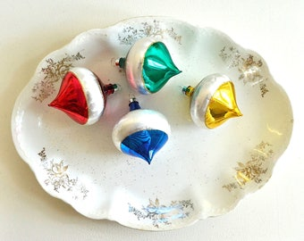 vintage glittered  Christmas glass ornaments red blue green gold ornaments holiday decor christmas tree ornaments